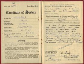 Army Certificate of Service for Donald Hicks, August 1953