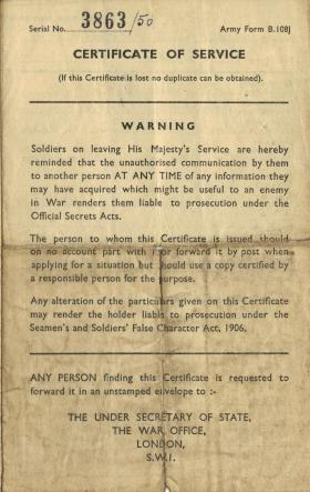 Army Reserve Discharge Certificate for Donald Hicks, July 1950