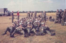 Paras await their balloon jump at RAF Weston on the Green, July 1984