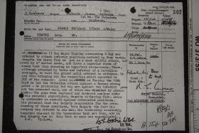 Citation for award of Military Cross to Major John Timothy, Arnhem, 1945.
