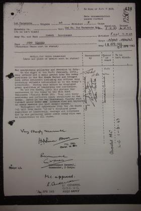 Citation for award of Military Cross to Lt John Timothy, Tunisia, 1943.
