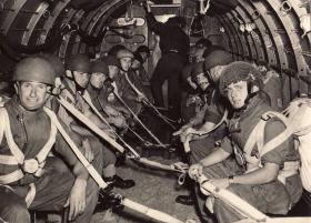 Soldiers from B Sqn, North Somerset Yeomanry onboard before another drop
