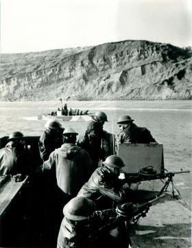 Support personnel training on Assault Landing Craft for Bruneval Raid, 1942.
