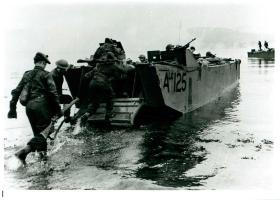 Troops leave by Landing Craft.