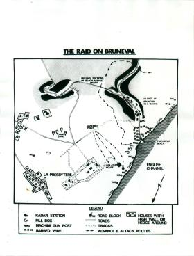 Map of positions taken up during the raid on Bruneval.