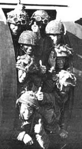 Airlanding troops of 6th Airborne Division in good spirits onboard a Horsa prior to D-Day, June 1944