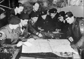 Officers of B Squadron Glider Pilot Regiment briefing before an operation