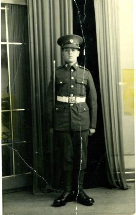 Neville 'Bill' Griffin as a RASC boy soldier, 15 years old