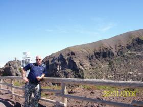 Billy Leathley on top of Mt Vesuvius, Italy, 2004