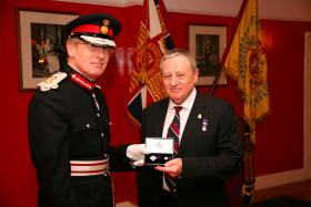 Bob Prior receives the Elizabeth Cross for the Prior family, Quebec TA Centre, Brighton, March 2010