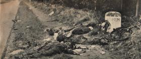 Bodies of men from 10th Parachute Battalion ambushed at the 6km marker to Arnhem