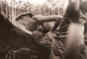 Jeff Chandler REME (att 2 PARA) at a jungle camp, Borneo