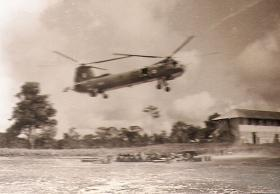 Bristol Belvedere comes in to land on a resupply mission in Borneo, c.1965