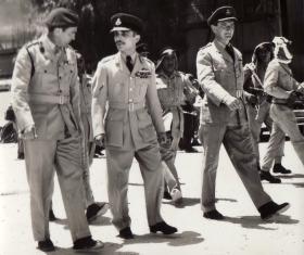 Brig Tom Pearson (16 Para Brigade) with HM King Hussein of Jordan, 1958.