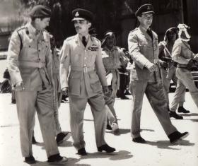 Brig Tom Pearson (16 Para Brigade) with HM King Hussein of Jordan, 1958.