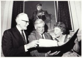 Brigadier Hill and Col Alistair Pearson at a portrait unveiling, c.1980s
