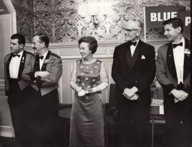 Brigadier Hill receiving guests at a ball, c.1970