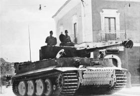 German Panzer VI (Tiger Tank 1) in action in Sicily