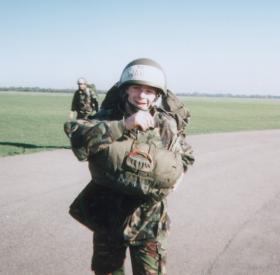 Chris of 16 Detachment 4 Para after his first Parachute drop