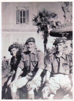 CQMS Hayburn, Major Dennison, CSM Watson of A Coy, 3rd Para Bn at Altamura, Italy, 1943.