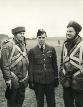 David Dobie (left) with Sqn Ldr Meade (centre) and Captain Crichton (right) at RAF Dishforth, Jan 1942
