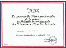 Commemorative 50th anniversary certificate for Prisoners of War, 1995