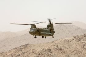 Chinook helicopter flying over Zabul, Afghanistan June 2008