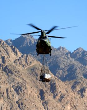 Chinook with resupplies in Zabul, Afghanistan