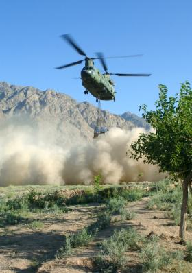 Chinook delivering resupplies to Zabul in June 2008