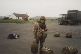 Chris Hunt awaits a parachute jump with 4 PARA