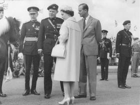Commanding Officer Lt Col Mills greets a Royal visit to 17 PARA (TA) in Gateshead, c.1959