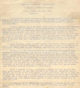 Copy for newspaper article on Military Medal award for then-Pte Hughes/Freeman, July 1940