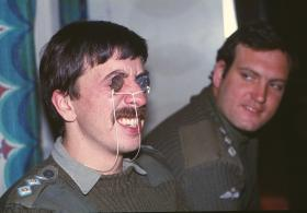 """Light relief on Norland - 2 PARA's """"Intelligence"""" Officer, Captain Alan Coulson, with Captain Mike Ford."""