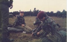 Cpl Cook and members of 144 PFA Nottingham detachment in Denmark, September 1984