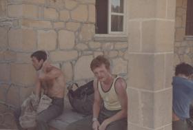 Men of Para Sqn RAC rest after a Bergen run, during the UN Tour to Cyprus, 1974