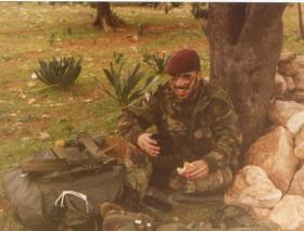 Kenny Morland takes a break during Ex Mushroom Air, Cyprus, 1989