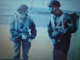 Sgts Mick Jones and Ken Collins checking chutes