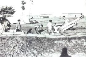 Detachment of Airborne artillery dig in a 25 pounder at the El Cap Station, Suez, November 1956