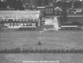 Aerial photo of the Para Sqn RAC Disbandment Parade, Old Sarum, February 1976