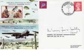 Operations Dragoon and Manna Commemorative Cover signed by Gen Farrar-Hockley