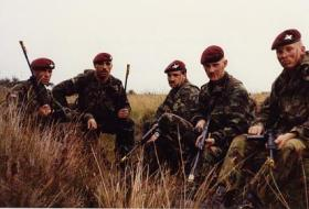 Men of B Coy, 15 PARA whilst on Exercise Cockfeather, at Barry Buddon, 1989