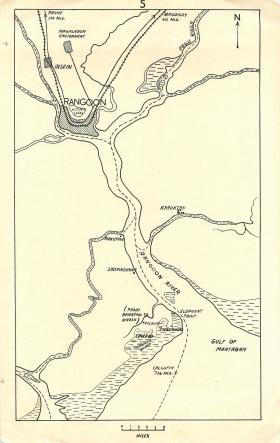 Map of the battle area around Elephant Point in Rangoon.