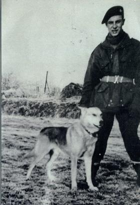 Pte Emile Corteil with Para Dog Glen, 1944