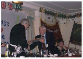 Eric Tripp receiving Colonel Commandant's commendation at Royal Cornwall Branch function