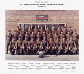 Group portrait of the Evelyn Wood Team, No 1 (Guards) Independent Company, The Parachute Regiment, Winners 1966