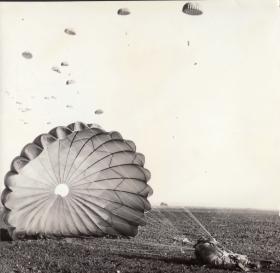 Paratroopers landing during Exercise Dry Martini, 2 Para, Derna 1959
