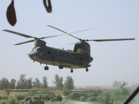 A Chinook comes in to land on an air resupply mission to FOB Gibraltar, Afghanistan, 2008