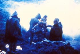 2 PARA RAP in burning gorse - The Bower, Darwin Hill. 1982.