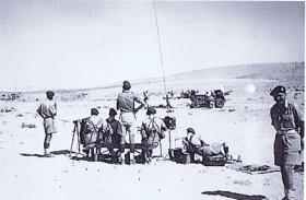Fox Troop Command Post, 53 Airlanding Light Regiment, during Live Firing Camp at Asluj, Palestine