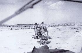 Fox Troop Command Post, 53 Airlanding Light Regiment, at Live Firing Camp, Asluj, Palestine
